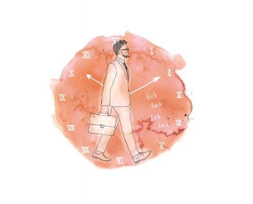 Illustration: Ein Mann im Anzug läuft mit einer Aktentasche in der Hand durchs Bild. Im Hintergrund ist eine Uhr zu sehen.