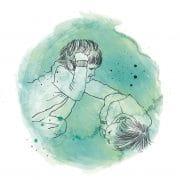 Grafik: Ein Kind schlägt ein anderes.